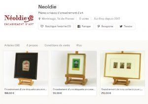 Boutique en ligne - Créations uniques d'encadrement d'art - Néoldie